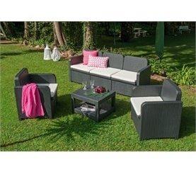 Conjunto sofá 3 plazas, 2 sillones y mesa de centro HERMES Antracita