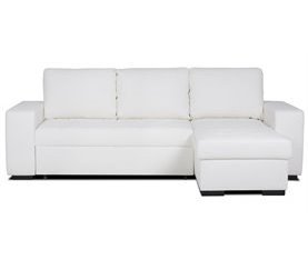 Chaise longue reversible piel sintética con cama HARRY Blanco