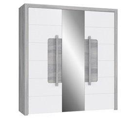 Armario 203 cm 3 puertas batientes con 1 espejo TIZZIANO 5.0 Blanco brillo y roble gris