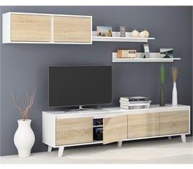 Mueble de salón LINE Blanco y roble