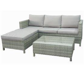 Conjunto sofá, pouf y mesa de centro jardín LANZAROTE Antracita