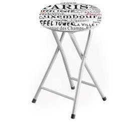 Taburete plegable 45 cm CITY Blanco y Serigrafía PARIS