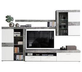 Mueble de salón AKRON Gris y blanco